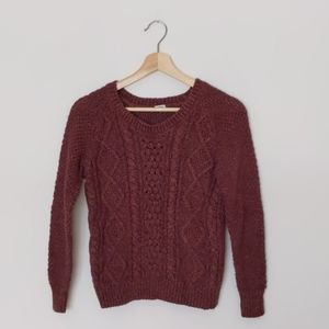 🌟2 for $20🌟Chunky cable knit maroon sweater